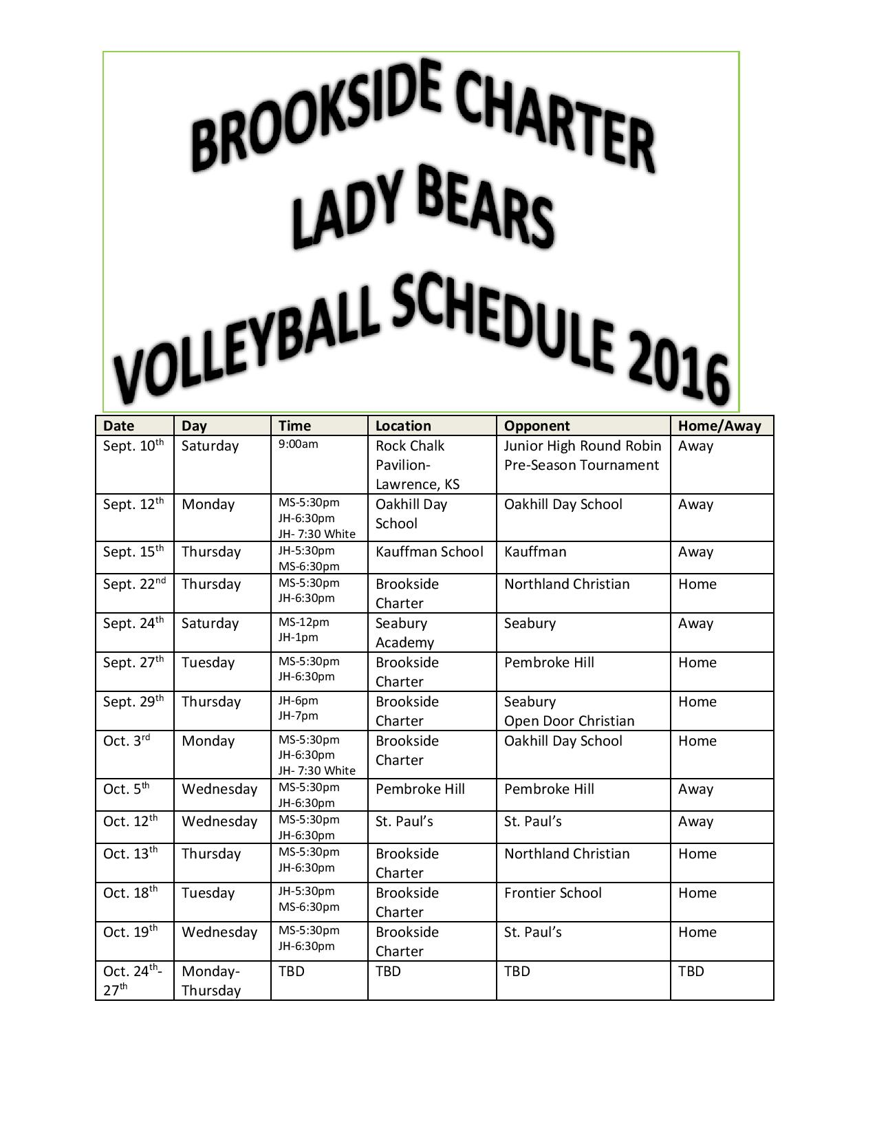 Volleyball Schedule 16-17